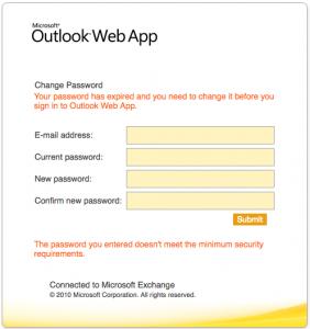 Outlook password change